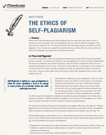 self plagiarism white paper